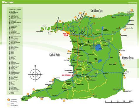 Detailed tourist map of Trinidad island. Trinidad island