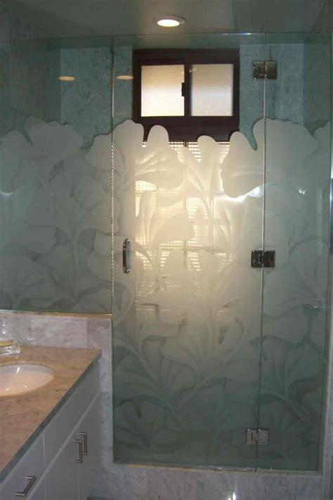 Sandblasted Glass Shower Doors Ginkgo Glass Shower Doors Etched Glass