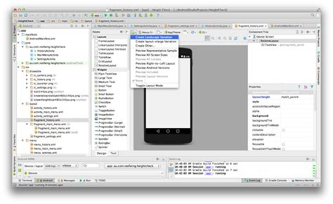 android studio add new layout android alternate layout xml for landscape mode stack