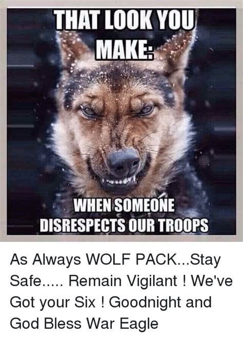 Wolf Pack Meme - that look you make when someone disrespects our troops as