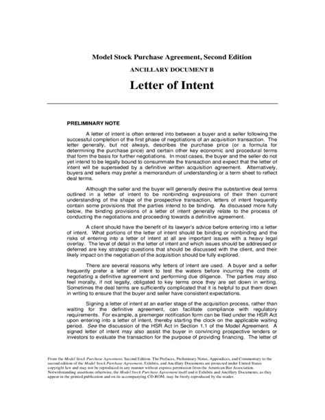 Letter Of Intent Merger Template Letter Of Intent Free
