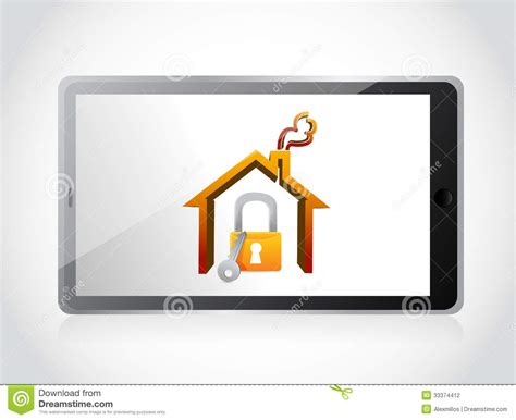 tablet and home security concept illustration stock