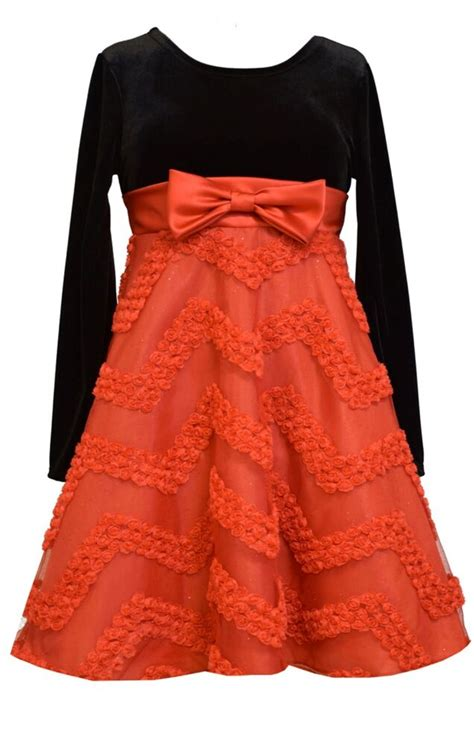 bonnie jean big girls velvet black stretch red bonaz santa christmas dress   ebay