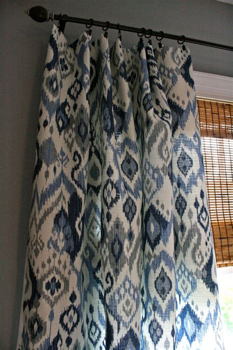 Navy Blue Tab Curtains Mesmerizing Ikat Curtains Ikat Curtains Coral Etsy Canada