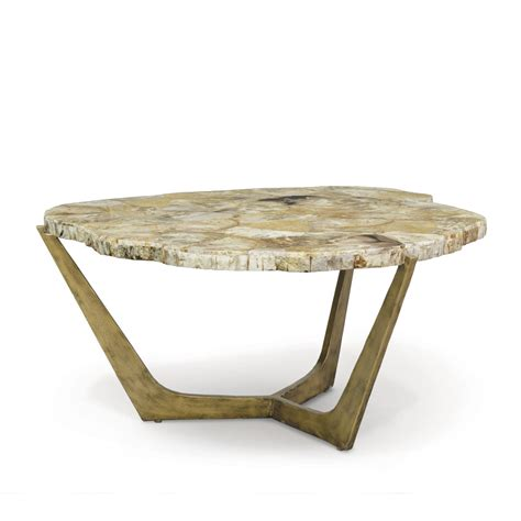 petrified wood coffee table palecek