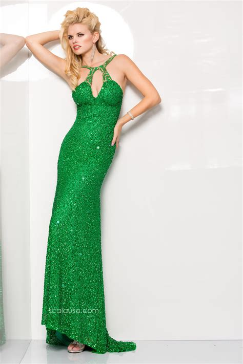 Mm Slkalla Dress scala 48414 beaded prom gown with keyhole novelty