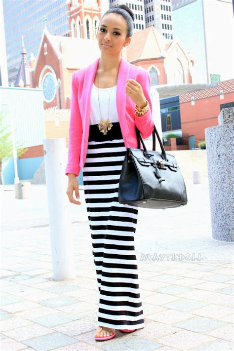 Stripe Pop striped maxi skirt with a pop of pink