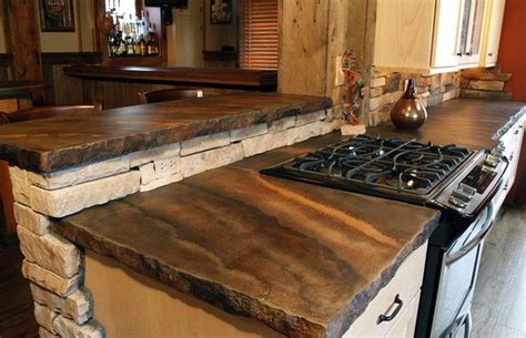 Cut Bar Tops by Rustic Countertop Color Striations Edge Concrete