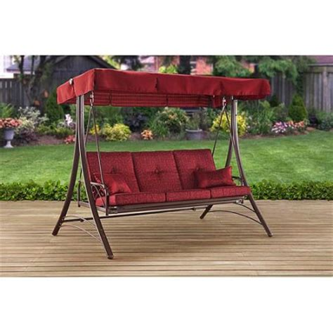 yard swings at walmart mainstays callimont park 3 seat daybed swing red