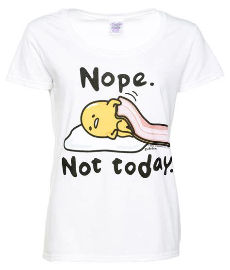 T Shirt Kaos Wanita Nope Not Today s gudetama nope not today white scoop neck t shirt
