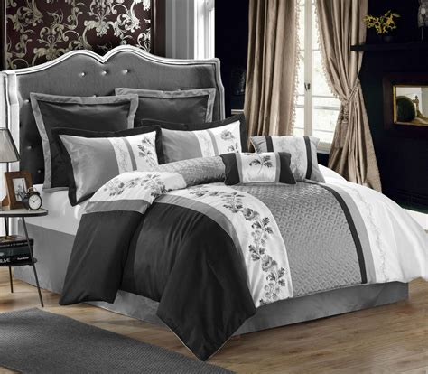 gray and white bedding linen comforter u0026 sham set