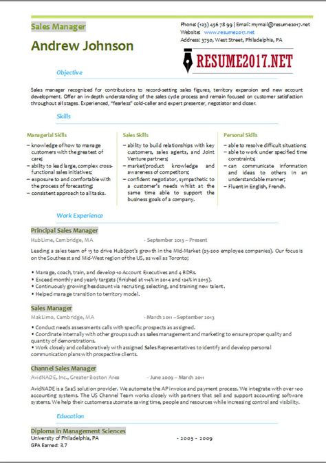 resume format sles 2017 sales manager resume template 2017