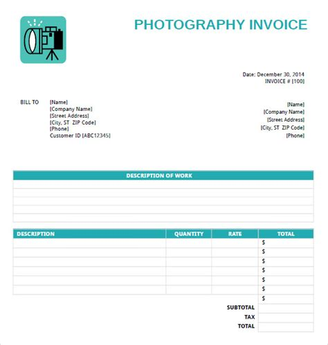 photography template photography invoice template 7 free sles exles
