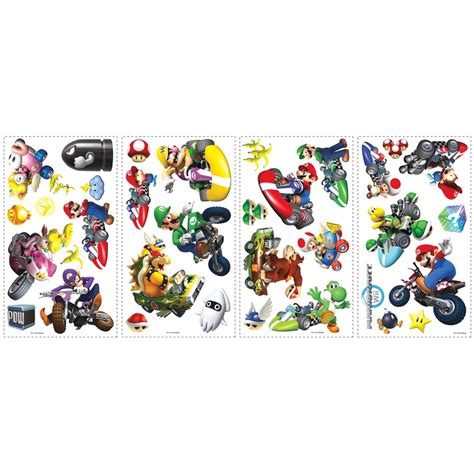 mario kart wall stickers mario kart wii 34 big wall stickers racing cars room decor
