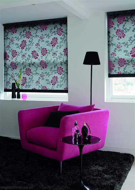 pink patterned roman blind black grey and deep pink peony patterned roller blinds