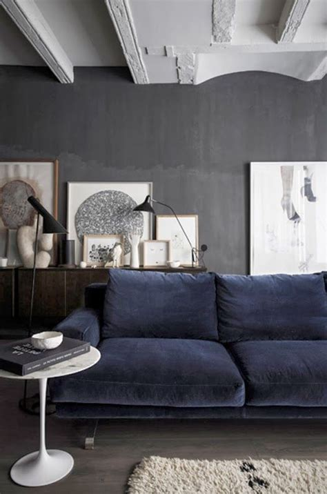 grey wall blue sofa interior