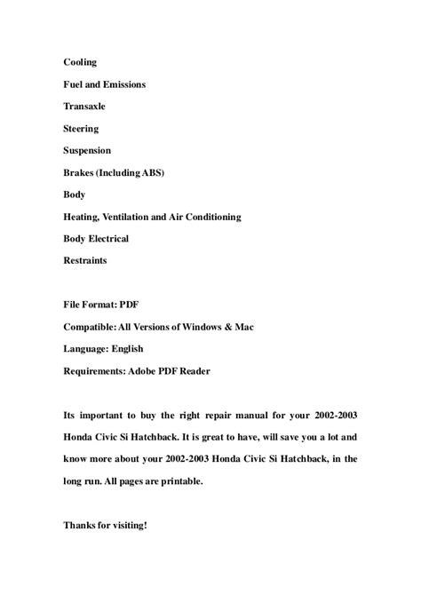 free download parts manuals 2003 honda civic si security system 2002 2003 honda civic si hatchback service repair workshop manual dow