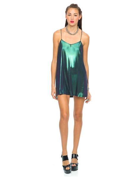 buy motel meadow slip dress in iridescent green at motel