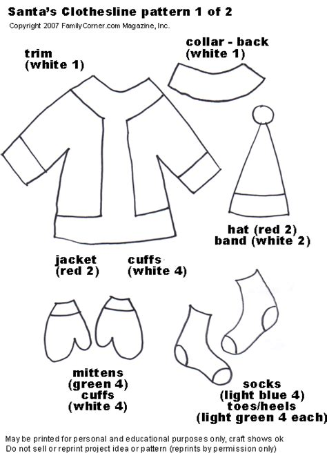 printable santa outfit santa s clothesline familycorner com 174