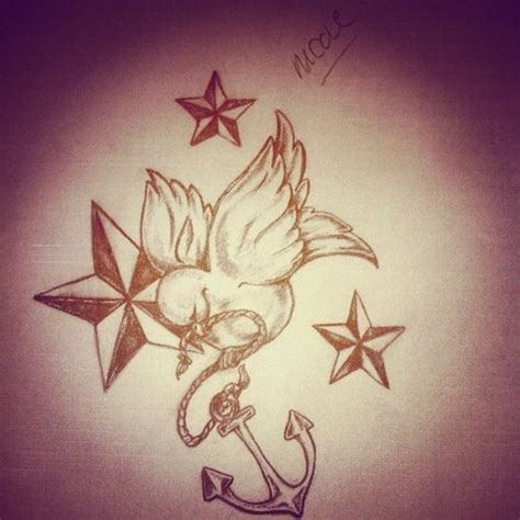 star thigh tattoo designs nautical and bird with anchor thigh design