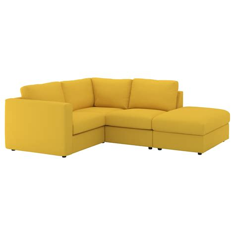 yellow corner sofa vimle corner sofa 3 seat with open end gr 228 sbo golden