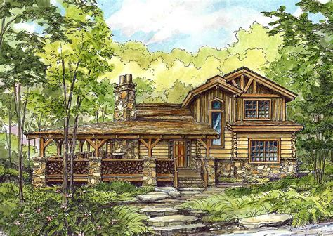 distinctive log cabin with wrap around porch bistrodre
