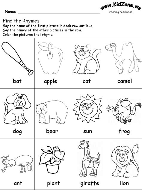 Reading Readiness Worksheets by Free Coloring Pages Of Grade Rhyming