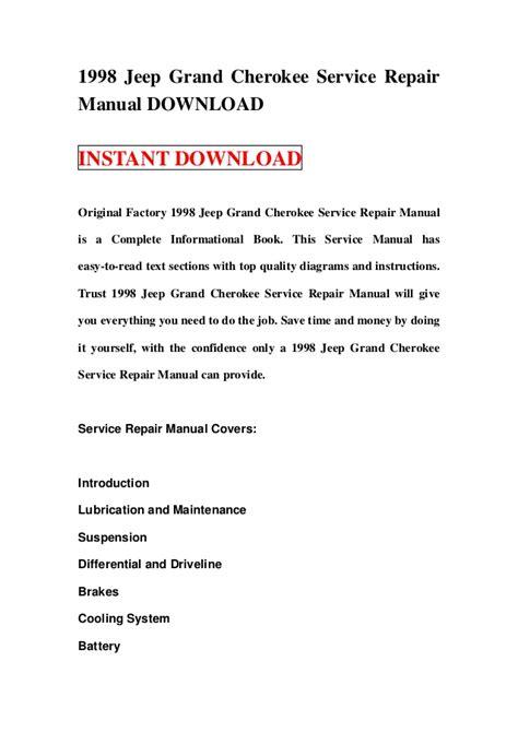 1998 Jeep Grand Cherokee Service Repair Manual Download