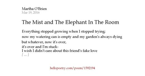 There Is An Elephant In The Room Poem by The Mist And The Elephant In The Room By Martha O Brien