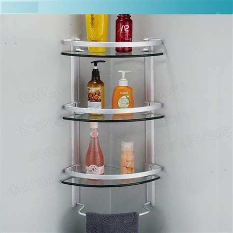 Bathroom Accessories Shelves Aliexpress Buy Aluminum 3 Tier Glass Shelf Shower Holder Bathroom Accessories Corner