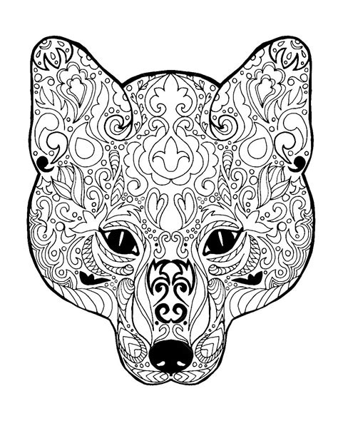 fox head  patterns foxes adult coloring pages