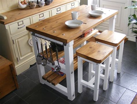 Breakfast Bar Kitchen Islands Rustic Kitchen Island Breakfast Bar Work Bench Butchers Block With 2 Stools Ebay