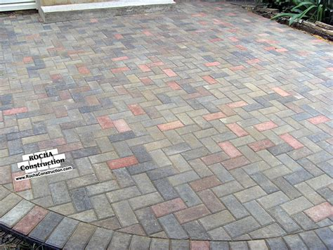 Concrete Patio With Pavers Paver And Brick Patios Rocha Construction Silver Md