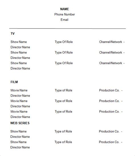 actor resume template 10 acting resume templates free sles exles