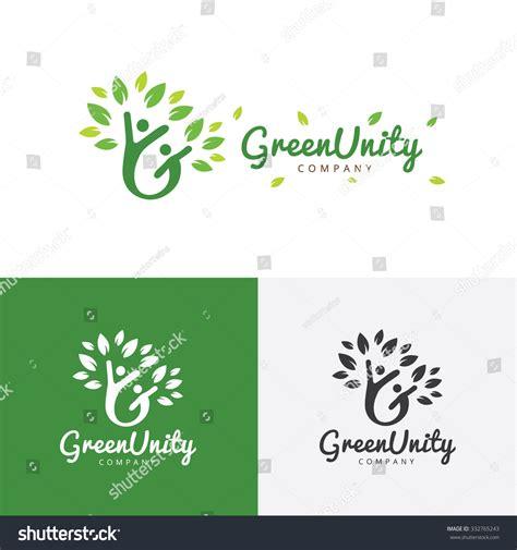 Green Unity Logoecogreenpeople Logocommunication Logofamily Logovector стоковое векторное Unity Logo Communication Logo