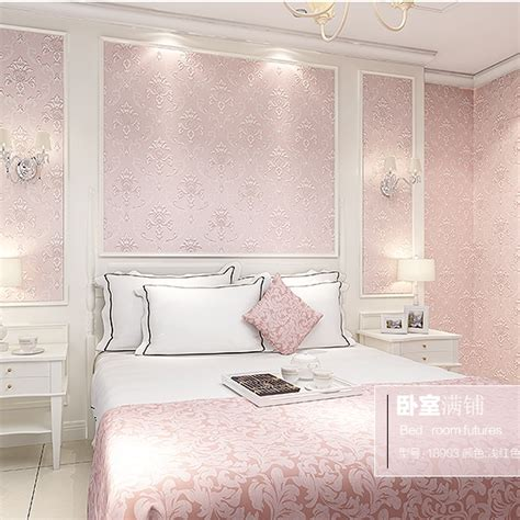 pink wallpaper for bedroom modern continental 3d stereoscopic relief nonwoven