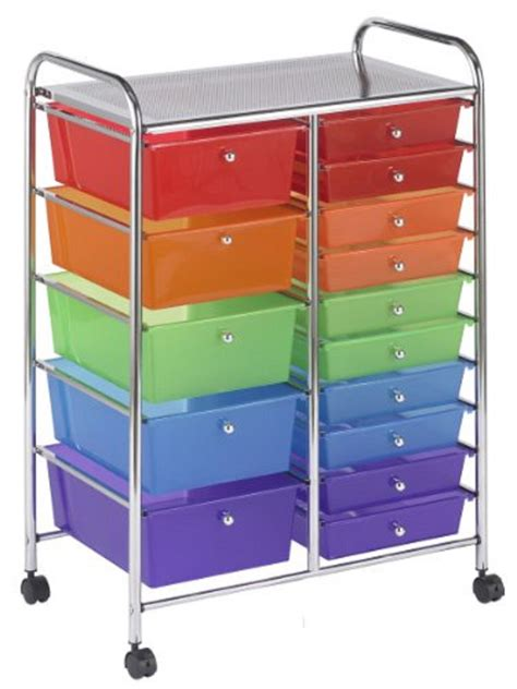 Rolling Storage Bins Drawers Rolling Storage School Cart Organizer 15 Drawer Multi