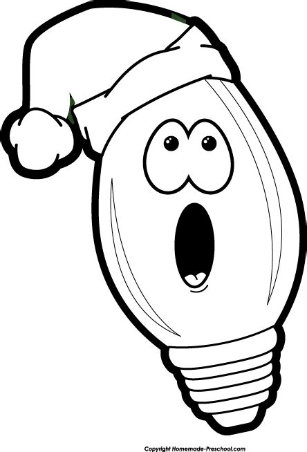 free images clipart christmas lights black and white