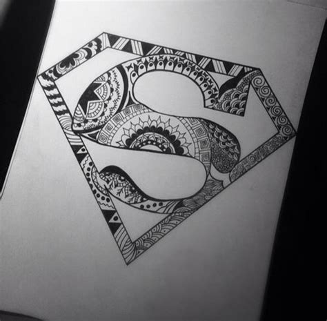 batman mandala tattoo superman mandala my drawings pinterest superman