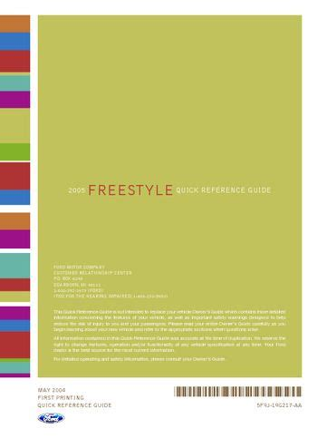 download car manuals 2005 ford freestyle electronic toll collection download 2005 ford freestyle quick reference guide pdf manual 12 pages