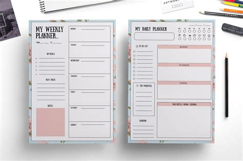 weekly planner daily planner templates creative market