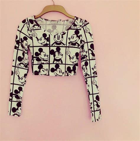 I Mickey Crop Rumbai Tshirt shirt mouse black and white crop tops crop disney