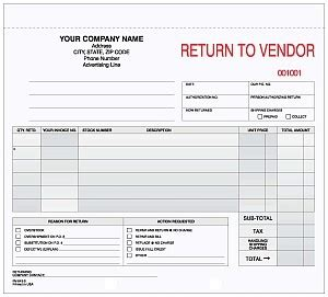 return to vendor form template rv 643 3 3 part return to vendor form
