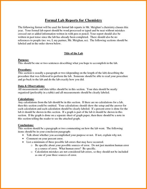 sle formal lab report chemistry 8 lab report format chemistry ledger paper