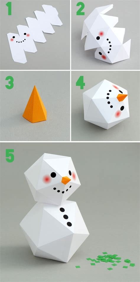 Origami Snowman - how to make snowman origami diy step by step tutorial