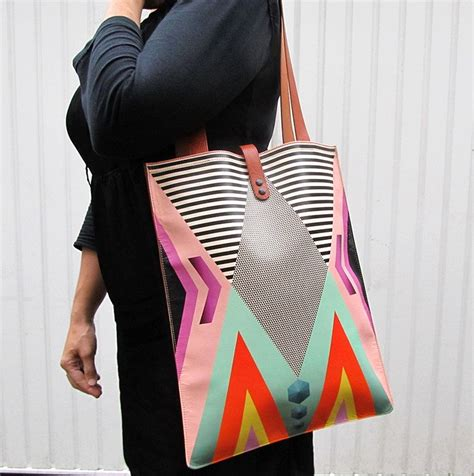 Tribal Geometric Bag leather tote tribal geometric 195 00 via etsy