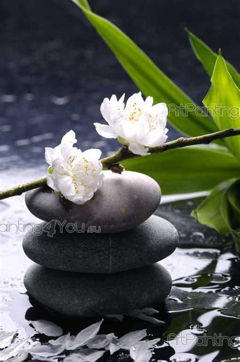 fotolia imagenes zen papier peint poster pierre zen fleurs
