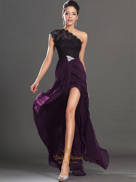 Cc Dress Black Purple black and purple one shoulder lace bodice prom dresses with high slits dress