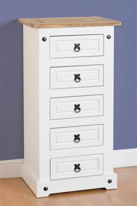 spencer 5 drawer chest living rooms dining rooms corona white narrow 5 drawer chest 163 82 00 mexican pine