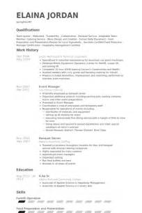 Banquet Server Resume Sle by Banquet Server Resume Sles Visualcv Resume Sles